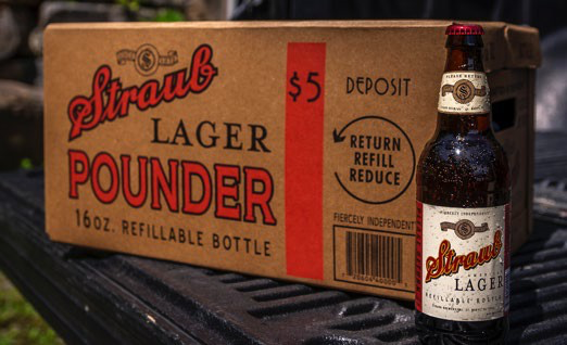 Inspection after final rinse, and reusable box showing 5¢ deposit. Courtesy of Straub Brewery, Inc.