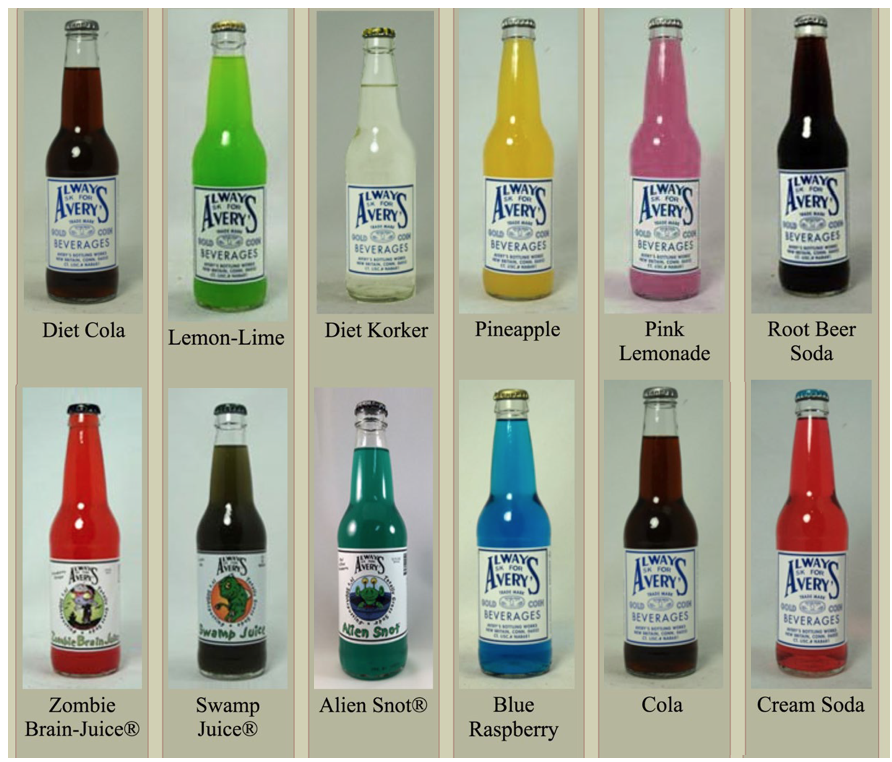 Bottles placed in washing machine; assorted flavors. Courtesy of Avery's Beverages, New Britain, CT.