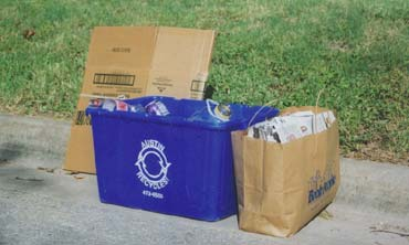 Recyclable materials waiting for curbside pickup
