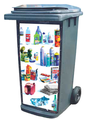 A recycling cart with examples of single-stream recyclable materials in it.